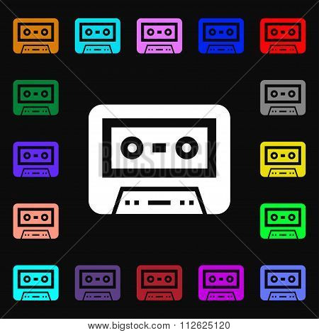 Audiocassette Icon Sign. Lots Of Colorful Symbols For Your Design.