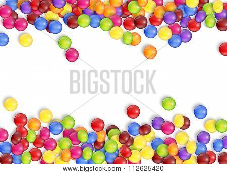 Frame of candies with a white background