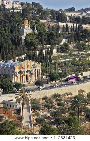 Church of All Nations and the golden domes of the Church of Mary Magdalene. Mount of Olives in East Jerusalem