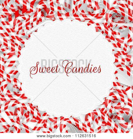 Peppermint sticks on isolated background