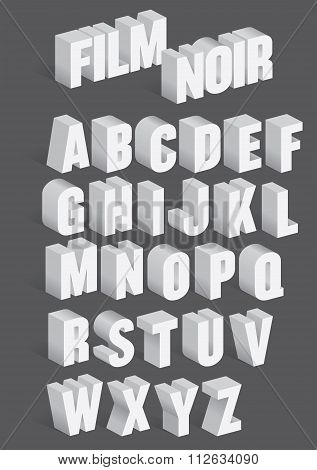 Three Dimensional Retro Vector Alphabet