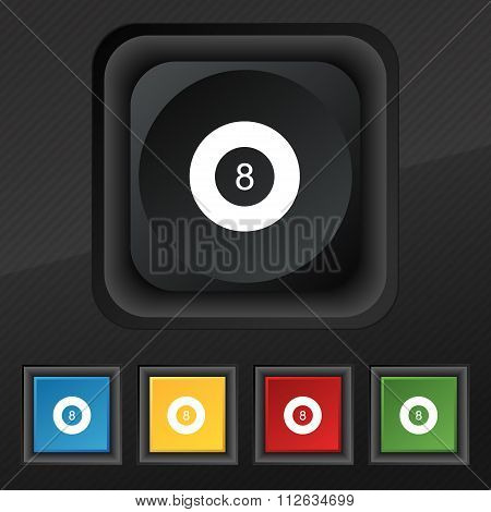 Eightball, Billiards  Icon Symbol. Set Of Five Colorful, Stylish Buttons On Black Texture For Your