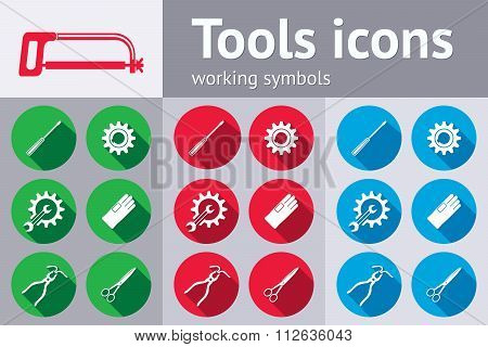 Tools icons set. Saw, pliers, tongs, wrench key, cogwheel, hammer, rubber gloves, screw bolt, nut. R