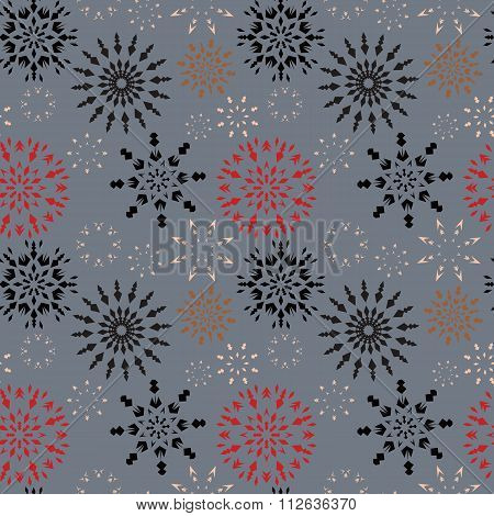 Christmas seamless pattern. Colored snowflake signs on soft gray background. Winter theme retro text
