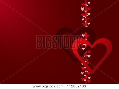 Two red hearts with column of hearts