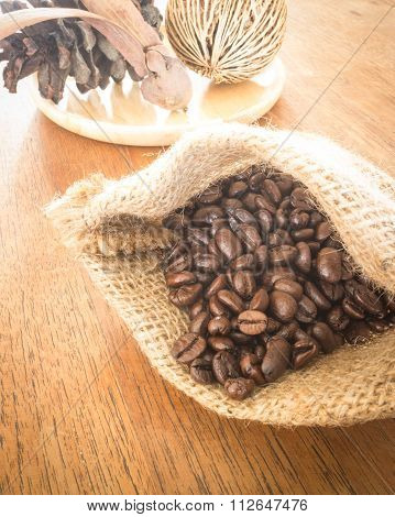Coffee Roasted Bean On Wooden Table Vintage Style