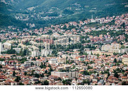 Aerial view on Sarajevo city Bosnia and Herzegovina poster