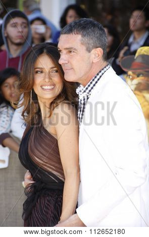 WESTWOOD, CALIFORNIA - October 23, 2011. Salma Hayek and Antonio Banderas at the Los Angeles premiere of