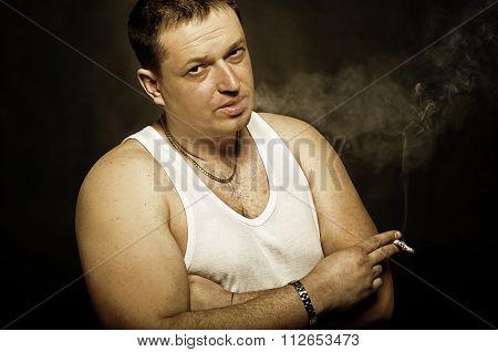 Portrait of a man a smoker