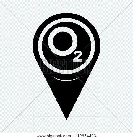 Map Pointer Oxygen O2 Icon