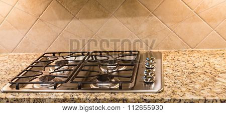 New Gas Range On Granite With Tile