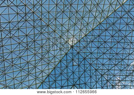 Steel And Glass Atrium Roof Under Blue Sky