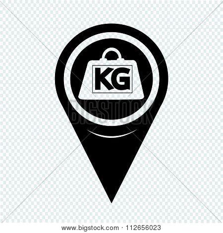Map Pointer Weight Kilogram Icon