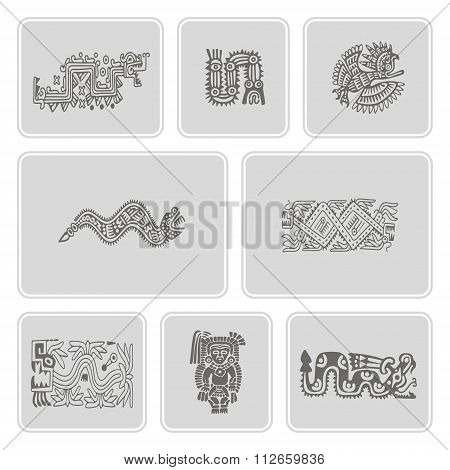 set of monochrome icons with American Indians relics dingbats characters