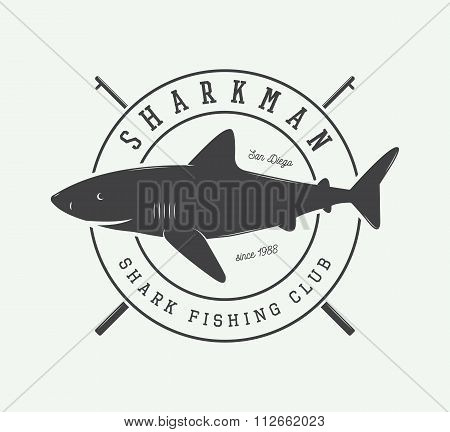 Vintage Fishing Label, Log, Badge With Shark. Vector Illustration
