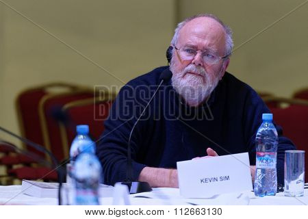ST. PETERSBURG, RUSSIA - DECEMBER 16, 2015: British film director Kevin Sim in the film studio Lendoc durint the round table discussion of 4th St. Petersburg International Cultural Forum