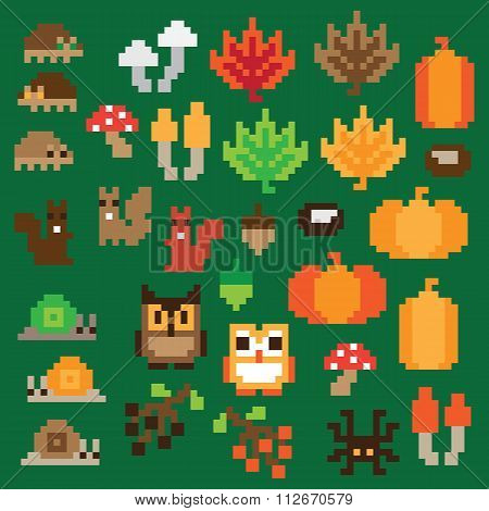 Colorful retro game Autumn Elements