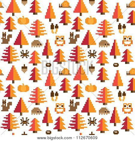 Colorful Seamless Pixel Pattern with Autumn Elements