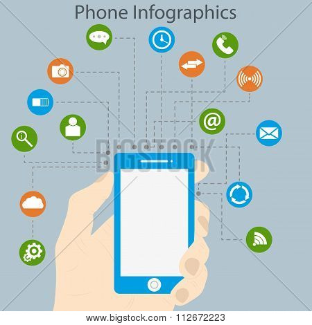 Vector illustration of infographics phone