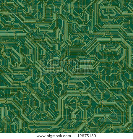 Seamless Background Of Electrical Circuit Board.