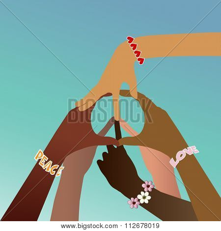 Multicultural hands forming peace sign