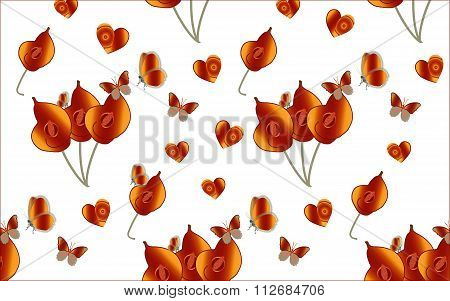Valentine's illustration of butterflies and hearts
