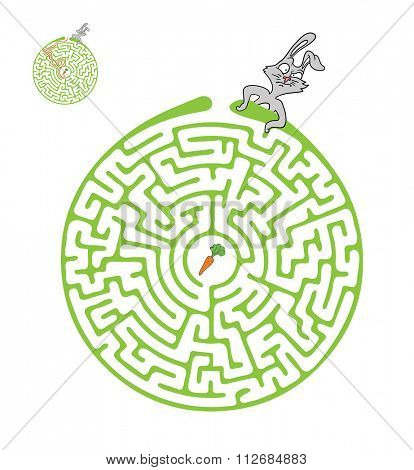 Maze, Labyrinth Game for Children with Rabbit and Carrot.