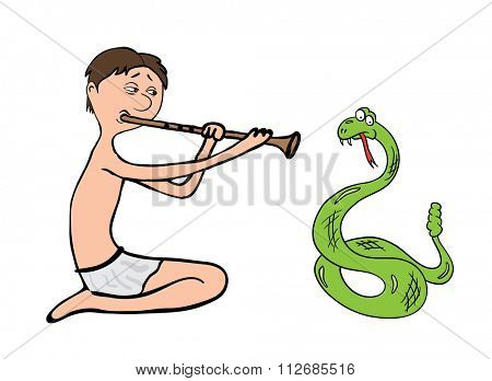 snake charmer, fakir illustration on white background