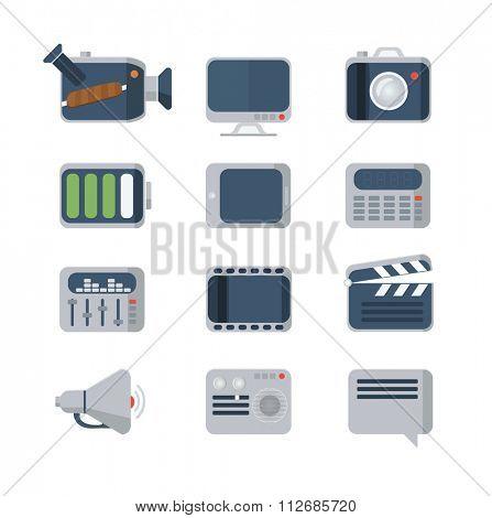Media Icons set, flat style, illustration