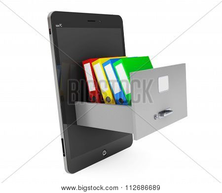 Data Storage Concept. Achive Office Binders In Cabinet Inside Tablet Pc