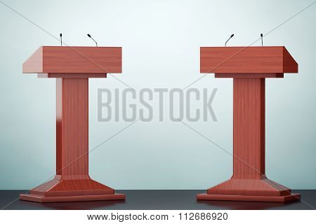 Old Style Photo. Wooden Podium Tribune Rostrum Stands With Microphones