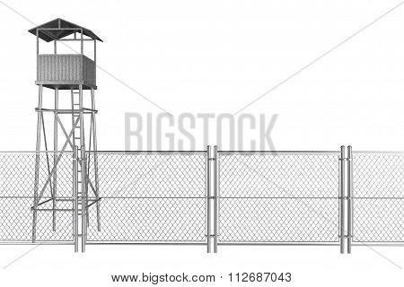 Guard Tower With Wired Fence
