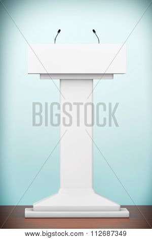 Old Style Photo. White Podium Tribune Rostrum Stand With Microphones