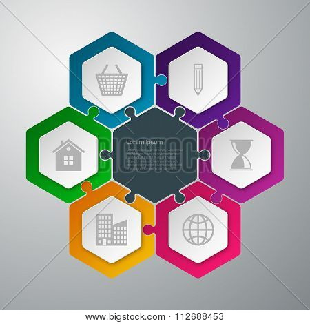 Vector illustration infographics hexagons
