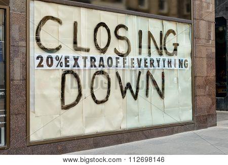 Closing Down Sign