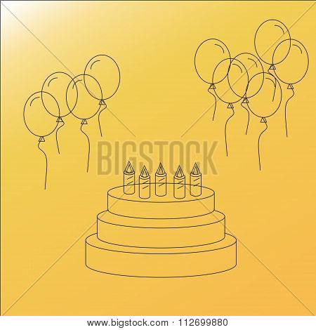 Happy birthday vector line icons: birthday cake and balloons. Vector illustration for your holiday presentation. Line style.
