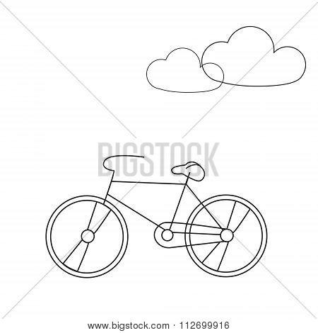 Bike line icon. Travel bicycle concept illustration with clouds. Modern line icon design. Modern icons for mobile interface. Vector illustration.
