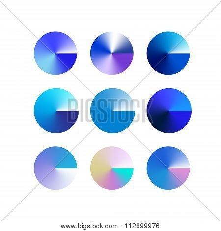 9 Vector brightly colored blue winter gradient circles for your design. Vector illustration