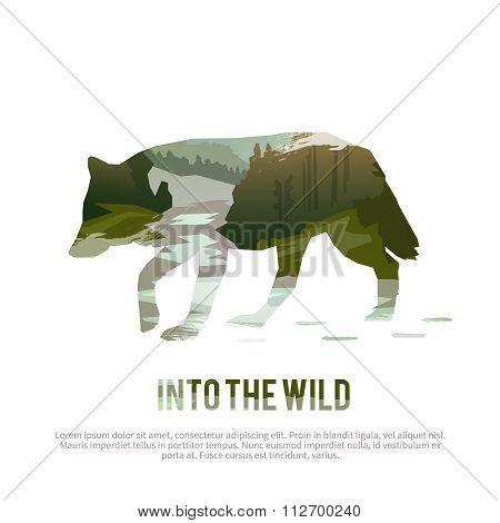 Wolf. Vector illustration.