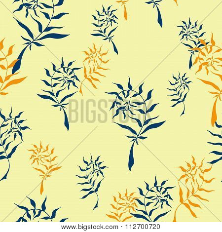 Seamless pattern with hand drawn wild herbs, ferns or seaweed. Vector, EPS 10.