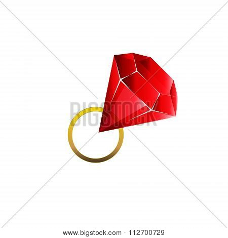 Colorful and shiny Rubin red golden ring, Vector Illustration