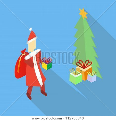 Isometric vector Santa Claus bringing the present