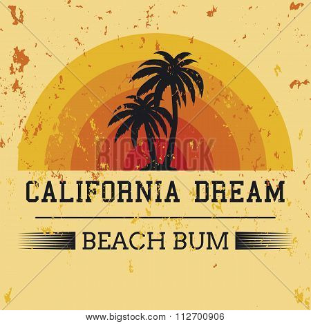 california dream typography, t-shirt graphics