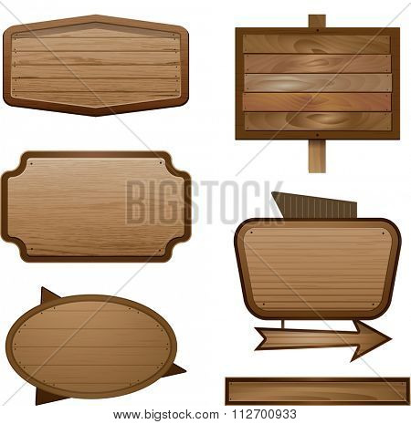 Vector realistic illustration of wooden signboard, wood banner sign isolated on white