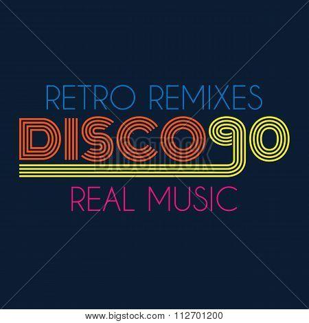 disco 90 typography, t-shirt graphics