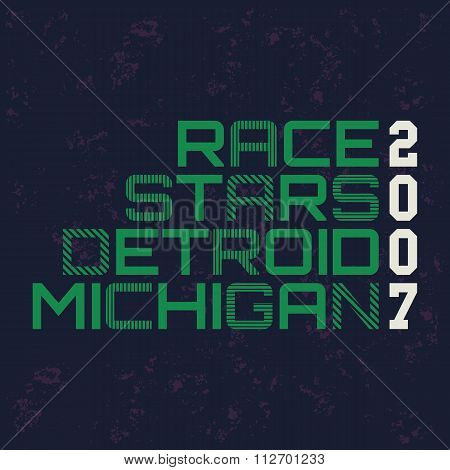 race stars typography, t-shirt graphics.
