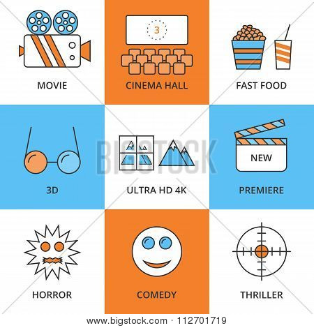 Stock Vector Linear icon movie