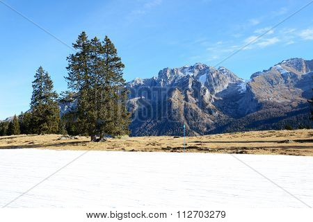 The Ski Slope With A View On Dolomiti Mountains, Madonna Di Campiglio, Italy