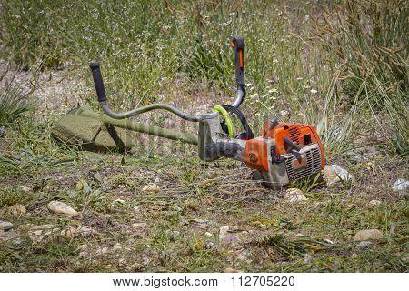 brush cutter, cutting weeds in a garden