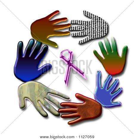 abstract hands united around pink ribbon symbol poster